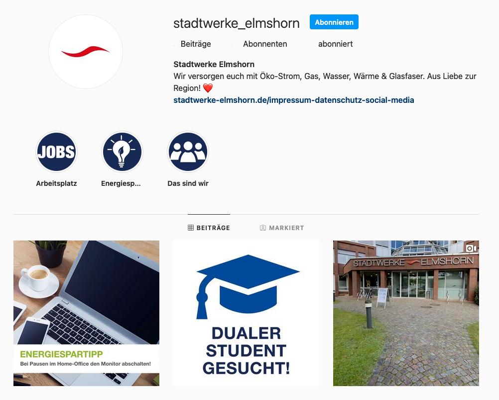 Stadtwerke Elmshorn Instagram Profil